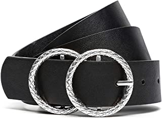 Earnda Women's Fashion Belts Silver Double Buckle Black PU Leather Strap