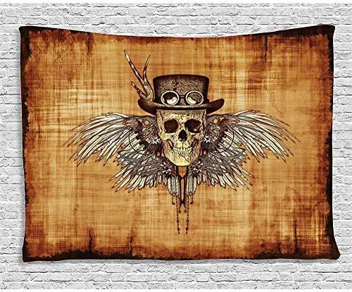 kjbfkghj Wandbehang,Behänge Cool Skull Icon auf Pergament Hintergrund Retro Styleon Eagle Wings Gotisches Schlafzimmer Wohnzimmer Wandbehang Wanddekoration -39x59inch (100x150cm)