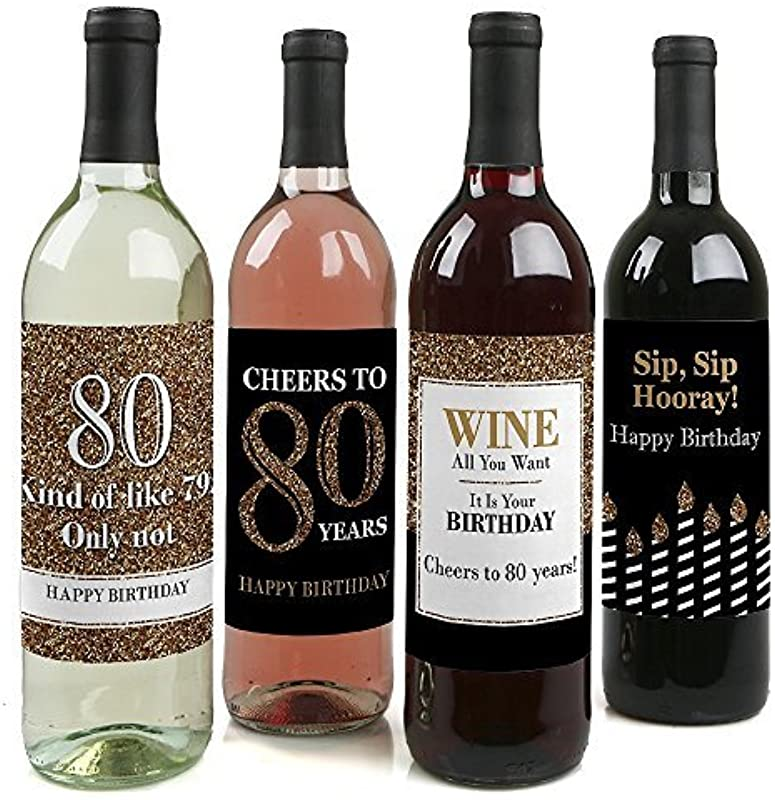 Adult 80th Birthday Gold Birthday Party Gift For Women And Men Wine Bottle Label Stickers Set Of 4