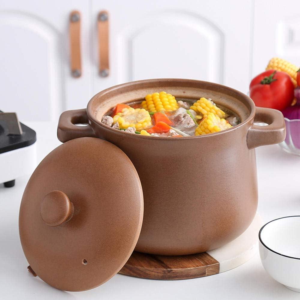 LIUSHI Casserole en Argile Pot de Cuisson en Argile - Casserole Pot à ragoût Non émaillé Ragoût à l'ancienne poterie en Argile Soupe Domestique-3.2L 4.5l