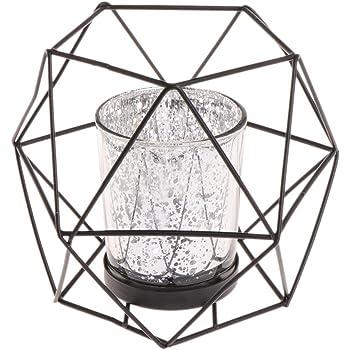 portavelas de metal decoraci/ón de boda dorado Brucelin Candelabro geom/étrico 3D de estilo n/órdico