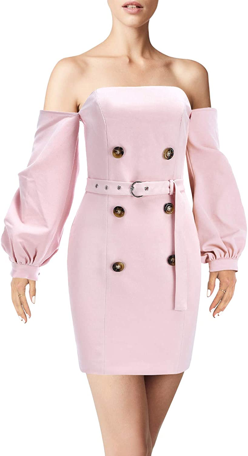 Hego Women's Nude Club Night Out Off The Shoulder Long Sleeve Mini Bodycon Party Dress BH5578