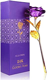 ALLOMN 24K Golden Rose, Plastic Long Stem Real Rose Dipped in Gold with Gift Box, Best Gift for Valentine's Day Mother's Day Christmas Birthday with Gift Box(Purple)