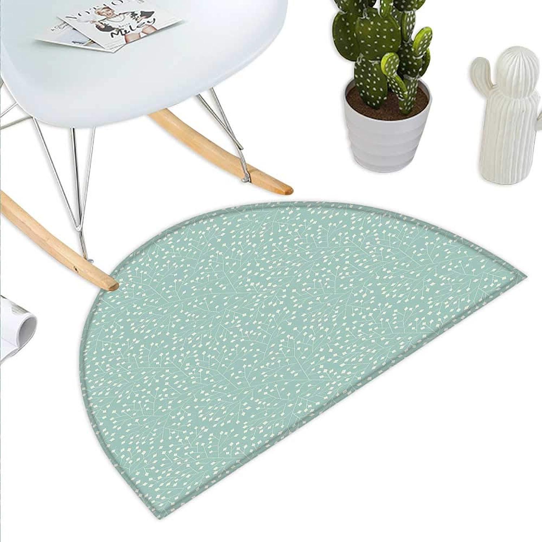 Turquoise Semicircle Doormat Abstract Stalks with Geometric Leaves Ornamental Motifs Rhombic Elements Halfmoon doormats H 43.3  xD 64.9  Almond Green Cream