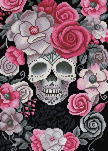 Stamped Cross Stitch Kits - Skull Counted Cross Stitch Kit, Full Range of Embroidery Starter for Adults Beginners - 11CT 3 Strands Art Crafts & Sewing Needle Points Kit for Home Decor 11.8x15.7in