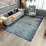 La alfombras Alfombra Salon Alfombra Suave con diseño geométrico a Rayas Azul grisáceo fácil de Limpiar Alfombra Cocina Alfombra habitacion Juvenil 200X300CM