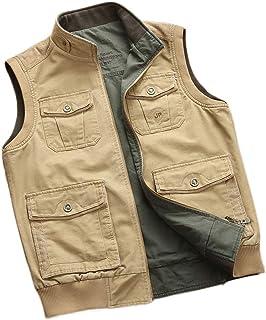 Men's vest Loose vest on Both Sides Wearing Cotton Fashion Multi-Pocket vest (Color : Khaki, Size : M)