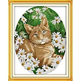 Punto de Cruz Eterno Amor del Gato En Las Flores Kits De Punto De Cruz De Algodón Ecológico China Estampado 11CT Decoración De Año Nuevo De Bricolaje For El Hogar