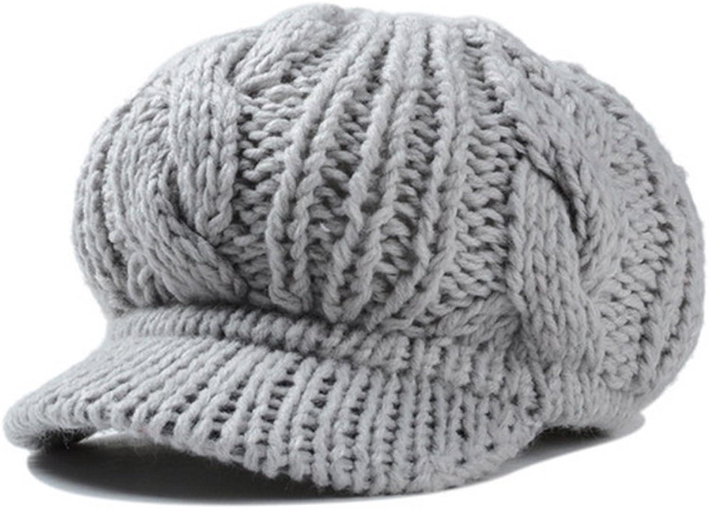 HH HOFNEN Slouchy Cabled Pattern Knit Beanie Hats for Women Fall Winter Crochet Newsboy Visor Beret Cap