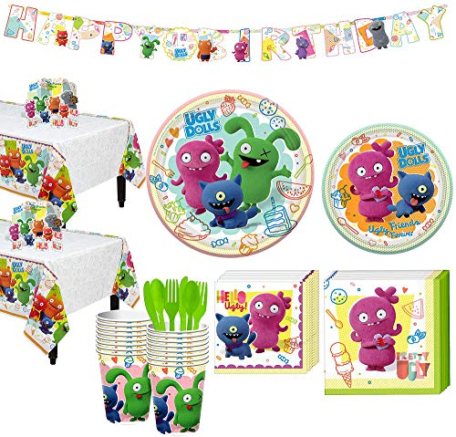 Purchase Party City Ugly Dolls Tableware Supplies for 16 Guests, Includes Birthday Banner and Table ...