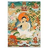 GuoQiang Zhou Póster de Buda Thangka India estilo religión china, impresión en lienzo, para decoración del pasillo, decoración del hogar, sin marco de color: A, tamaño (A4, 21 x 30 cm, sin marco