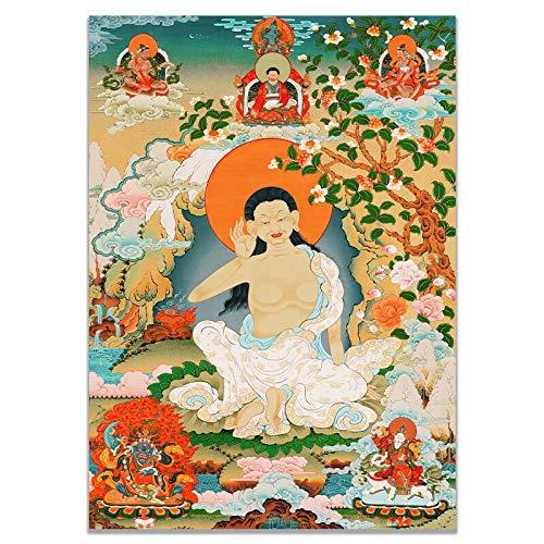 Tibetanische Thangka. Buddha Thangka Indien Chinesische Religion Stil Leinwand Drucke Malerei Poster Kunst Wandbilder für Flur Dekoration Kein Rahmen (Color : A, Size (Inch) : 50x70cm No Frame)