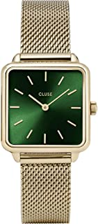 Cluse Women's La Tetragone 28mm Gold-Tone Steel Bracelet & Case Quartz Green Dial Watch CW0101207013