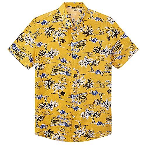LSSM Camisa De Manga Corta con Estampado Hawaiano Camisa De Playa Camisa De Hombre Hawaiian Shirt Camisa De Lino con Manga Corte Entallado Y Estampado Amarillo M