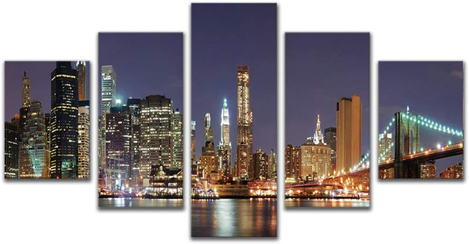 Loiazh  Image Printed On Non Woven Canvas  Wall Art Print Picture  Photo  5 Pieces  Frameless  Night City 55x22 45x20x2 35x20x2(cm)