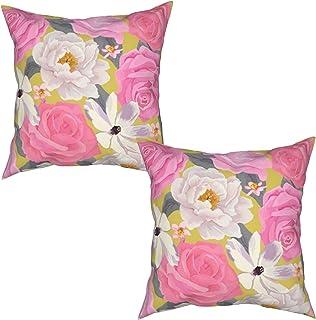 Throwpillow 2 Piezas Fundas de Cojines Ilustración de Stock Elegancia patrón de Flor de Color Transparente Suave Almohada Decorativo para Habitacion Sofá Dormitorio Oficina Sala-45x45cm