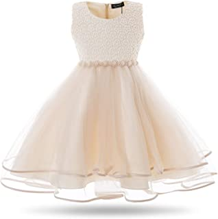 Girls Dress Kids Flower Lace Party Wedding Dresses for 2-11 Years