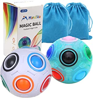 Moruska Rainbow Puzzle Ball Cube, Magic Rainbow Ball Puzzle Brain Teaser Game for Kids, Color-Matching Fidget Ball for Toddlers
