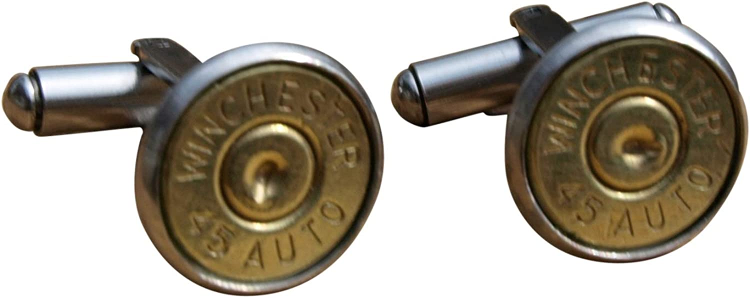 Stainless Steel Bullet Cuff Links with Brass 45 Auto. Optional Crystal