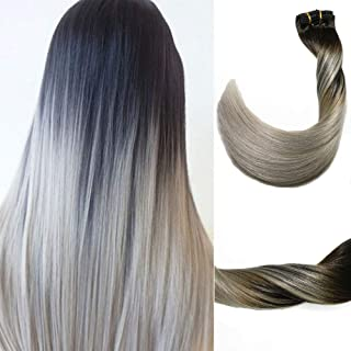 Clip in Hair Extensions 120 G/4.2 Ounce 100% Brazilian Remy Human Hair Extensions 9A Thickened Soft Silky Straight for Fashion Women 7pcs 17clips Full Head(14Inch Ombre Natural Black to Silver Gray)