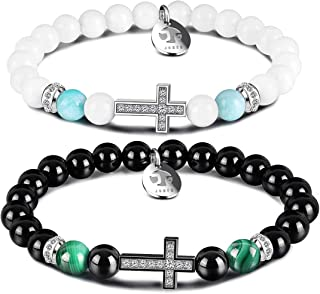 Cross Beaded Distance Bracelets for Mens Women, Friendship Relationship Couples Bracelet 8MM Natural Stone Beads Serenity Prayer Unisex His and Hers Charm Healing Bracelets Jewelry Gift
