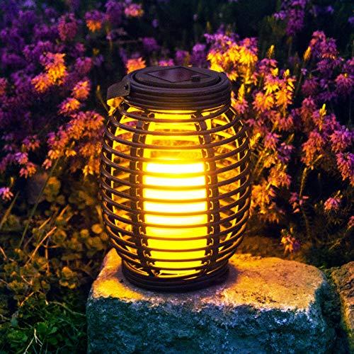 Grafner® LED Solar Laterne mit Kerze | täuschend echt | mit Flacker-Effekt | zum hängen oder stehen | Hängelaterne