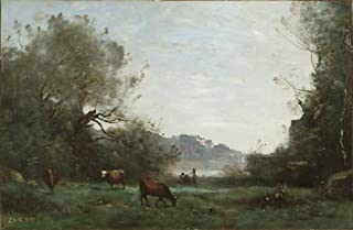 Berkin Arts Jean Baptiste Camille Corot Giclee Canvas Print Paintings Poster Reproduction(Cattle at Pasture in a Wooded Valley)