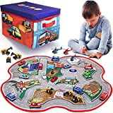 2 in 1 Convertible Toy Storage Box & Road Play Mat with 17 Pieces Cars & Trucks | Collapsible Fabric Cube Organizer City Rescue Vehicles Garage Bin for Kids Imaginary Play Set