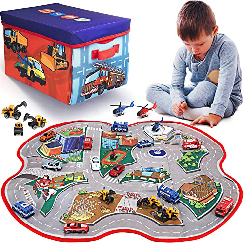 2 in 1 Convertible Toy Storage Box & Road Play Mat with 17 Pieces Cars & Trucks   Collapsible Fabric Cube Organizer City Rescue Vehicles Garage Bin for Kids Imaginary Play Set