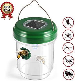 2019 Upgraded Solar Outdoor Wasp Trap Catcher Killer with Ultraviolet LED Light, Set of 2, Effective and Eco-Friendly Traps for Wasps, Bees, Yellow Jackets, Hornets, Bugs, Flies fomei