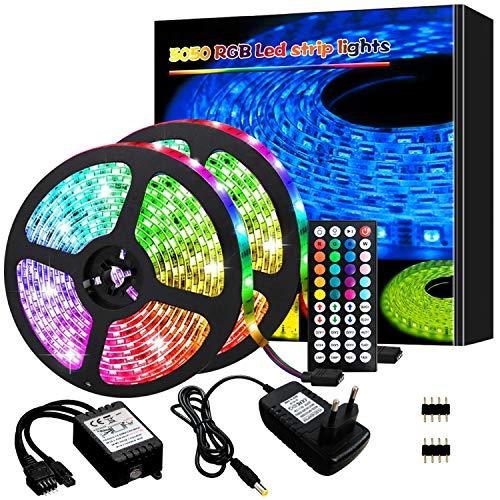 LED Strips 10m, LED Streifen RGB 5050 LED Band led leiste mit fernbedienung Flexible LED Bänder Strips Selbstklebend led lights Farbwechsel Led Lichterkette für Zuhause, TV, Decke und Beleuchtung