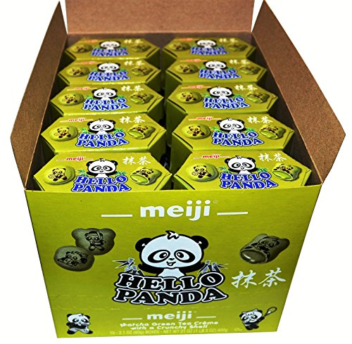 Meiji Hello Panda Cookies Filled With Matcha Green Tea Creme 10 Boxes in a Box 21 oz (1 LB 5 OZ)