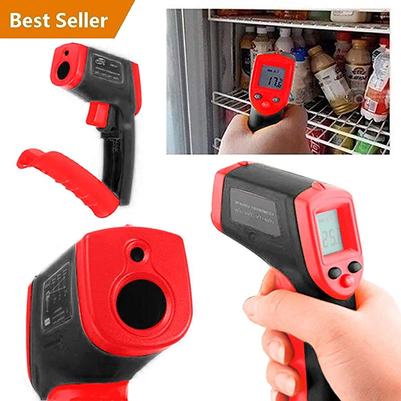Dual Laser Infrared Thermometer Professional Non Contact Digital Temperature Measuring Gun With Adjustable Emissivity For Cooking Brewing Automobile Industries 58 F 1022 F 50 C 550 C Red