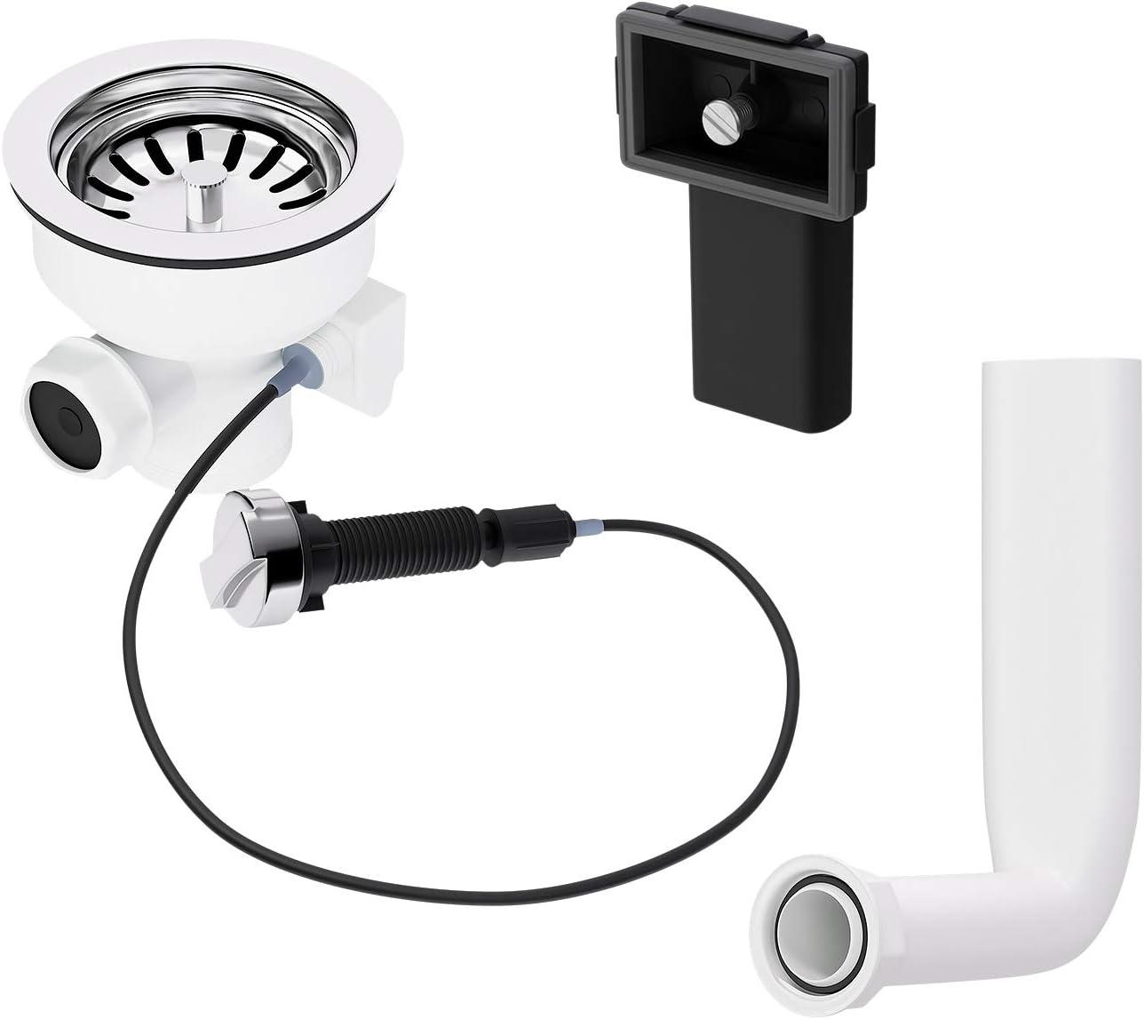 Válvula excéntrica de 114 mm con accionamiento giratorio y rebosadero, juego de desagüe para fregadero de cocina