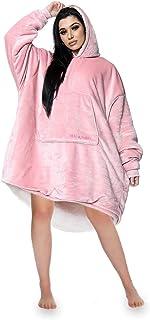 Gaveno Cavailia Luxury Hug & Snug Blanket, Fluffy Snuggly Large Front Pocket Soft & Cosy Adults, Polyester, Hoodie-Blush P...