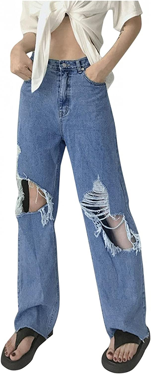 fannyouth Y2k Fashion Jeans for Women Button High Waist Straight Leg Pants with Holes Casual Baggy Trousers Streetwear