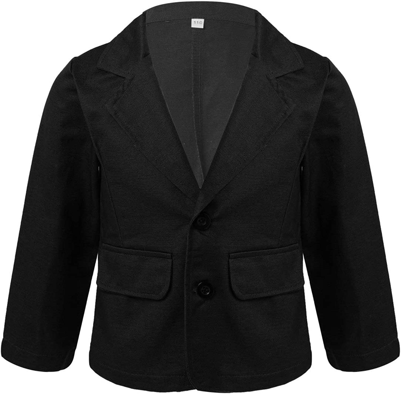 Nimiya Kids Boys Solid Colour Collar Blazer Jacket Coat Suit Black 6