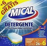 Mical - 5 en 1 - Detergente en pastillas para lavavajillas - 32 pastillas x 20 g - [Pack de 5]