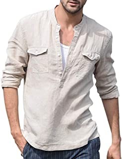 Men Long Sleeve Casual Blouse Tops, Male Baggy Cotton Linen Pocket Solid Retro T Shirts Blouse Shirt Tunic Tops