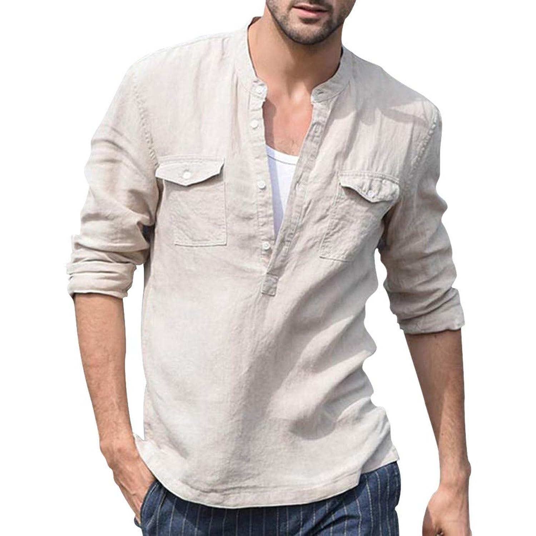 メンズ シャツ Hodarey 無地 綿麻 7分袖 半袖 ゆったり tシャツカジュアル ブラウス 日韓風 Tシャツ 薄手 体型カバー ボタン付き メンズ 服 おしゃれ トップス 男性 大きいサイズ シャツ 通勤 普段着 スポーツ デート 彼氏