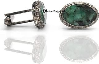 Pave Diamond Emerald Gemstone Cufflink, Natural Emerald Cufflink, Mans shirt Cuff link, 925 sterling silver cuff link