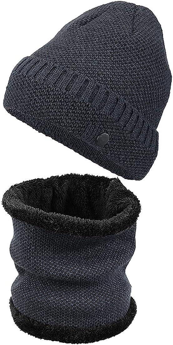 KRATARC Winter Warm Scarf Beanie Hat Knit Fleece Neck Gaiter Set Adult Men Women Outdoor