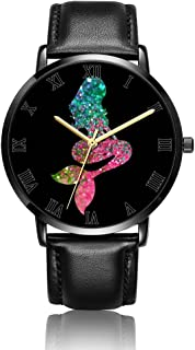Whiterbunny Customized Skull Flower Wrist Watch Unisex Analog Quartz Fashion Black Leather Strip/Black Dial Plate for Women and Men