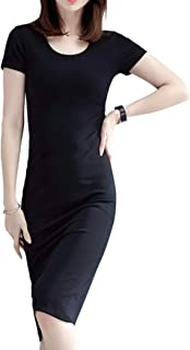 [ライラ] ブラック タイト シルエット ワンピース フォーマル ドレス 半袖 クルーネック M ~ 3XL レディース