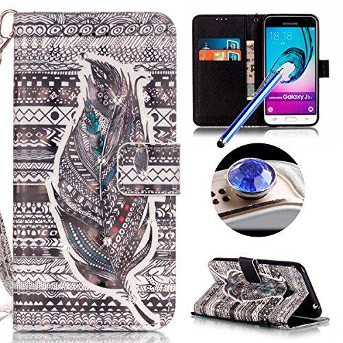 Samsung Galaxy J3(2016) Housse Coque de Téléphone, Etsue Cute Mode Colorful Design Flip Housse PU Cuir Coque Stand Housse de Protection pour Samsung Galaxy J3(2016),Coque est Bookstyle Folio Motif [Plume] et Cristal Cloutés pour Samsung Galaxy J3(2016) Joindre 1 x Corde + 1 x Bleu stylet + 1 x Bling poussière plug (couleurs aléatoires)