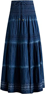 Femiserah Women's Bohemian Embroidered Flare A-Line Smocked Waist Long Maxi Denim Skirt