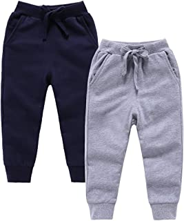 ALALIMINI Boys Sweatpants Active Jogger Pants for Toddler&Kids Cotton Drawstring 2-12