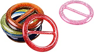 FENICAL Scarf Ring Resin Round DIY Ribbon Buckle for Clothes Scarves Hats 8pcs (Random Color)
