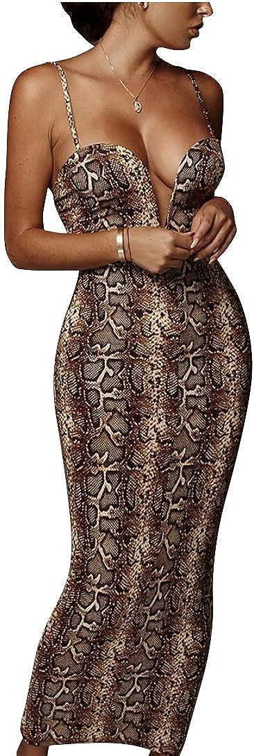 Sexy Snakeskin Print Spaghetti Strap Bodycon Midi Maxi Club Dress