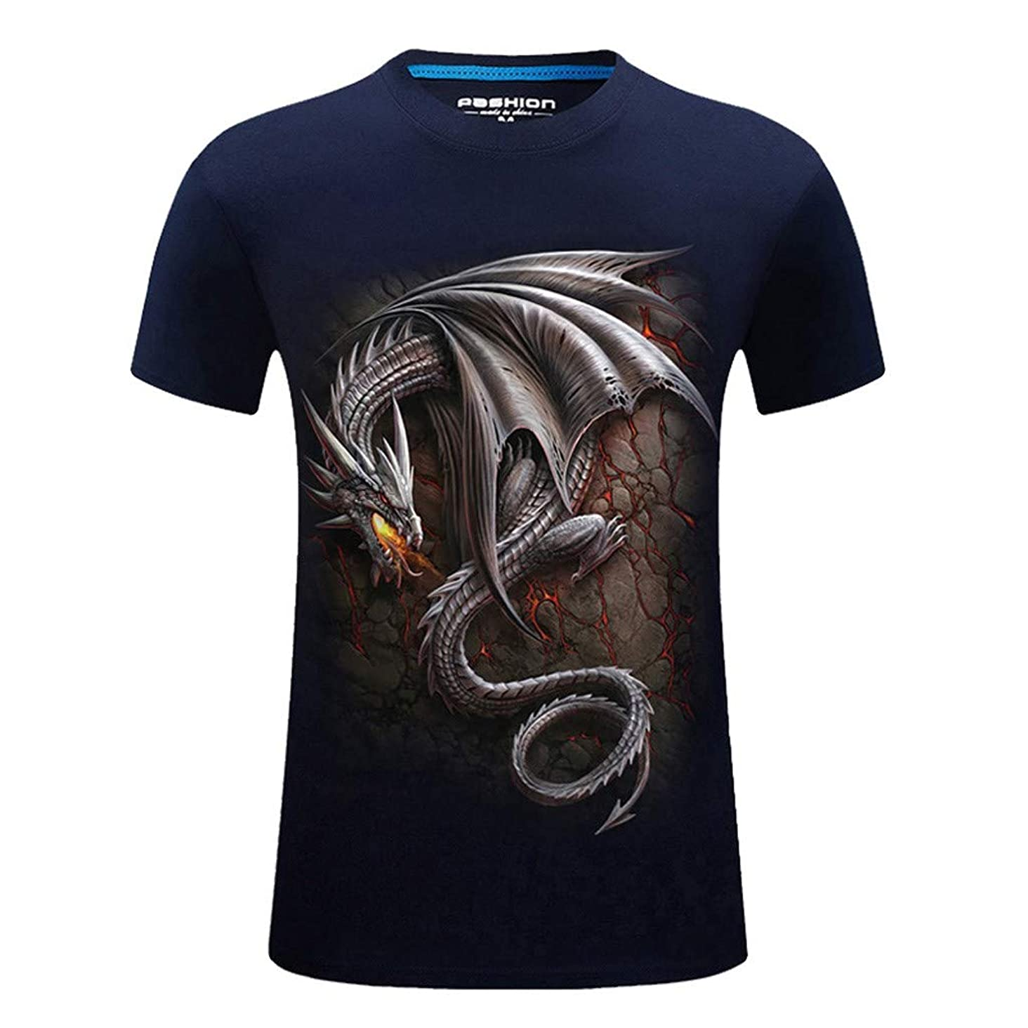 T-Shirts for Men, MmNote Casual Round Neck Fire-Breathing Dragon Print Rock Style Modern Classic Elastic Antibacterial Tees